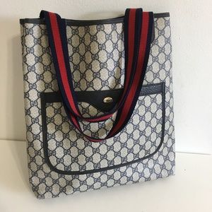 Authentic GUCCI tote navy blue coated canvas